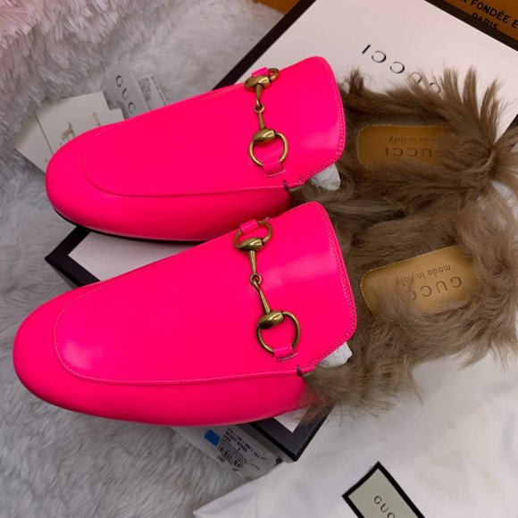 gucci pink fur loafers